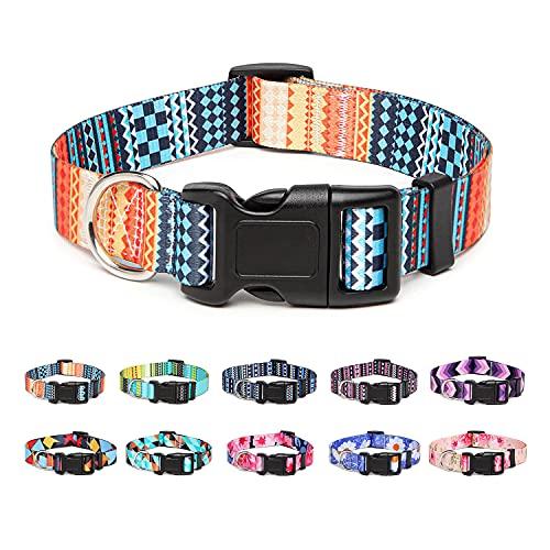 Suredoo Collar Perro, Ajustable y Resistente con Patrones de Moda, Collar Nylon Cómodos para Perros Pequeños Medianos Grandes, Cachorros (L, Naranja)