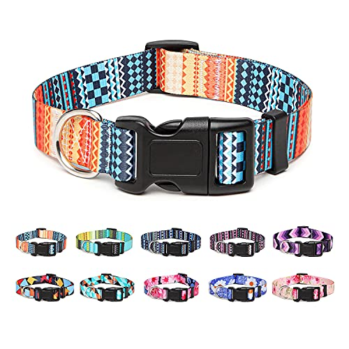 Suredoo Collar Perro, Ajustable y Resistente con Patrones de Moda, Collar Nylon Cómodos para Perros Pequeños Medianos Grandes, Cachorros (S, Naranja)