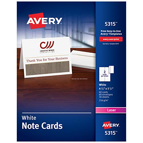 Avery Printable Note Cards, Laser Printers, 60 Cards and Envelopes, 4.25 x 5.5 (5315), White