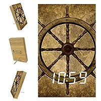 ベッドルーム用デジタル目覚まし時計キッチンオフィス3アラーム設定ラジオウッドデスククロック-レトロヴィンテージステアリングホイール