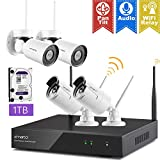 XMARTO [Expandable 8CH] Wireless Security Camera System, 2pc WiFi [PTZ Cameras Outdoor] + 2pc Bullet IP Cameras for Home Surveillance, 8CH 1080p NVR (Built-in Router, Auto Pair, Mobile View, 1TB HDD)
