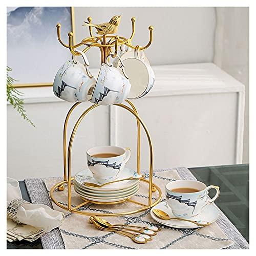 Taza de café exquisita Conjunto de taza de café de cerámica china con taza de taza de taza de café creativa del nuevo hueso chino China Taza y platillo moderno de la tarde de la tarde (conjunto de 6 p