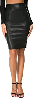 190582f6ab Nasperee Women Faux Leather Pencil Midi Skirt Slim Fit High Waist Knee  Length Office Bodycon Skirts