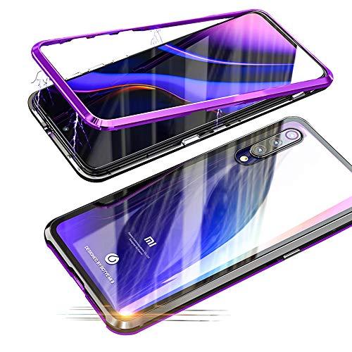Jonwelsy Funda Xiaomi Mi 9 (6,39 Pulgada), Fuerte Tecnología de Adsorción Magnética Metal Bumper, Cubierta Trasera de Transparente Vidrio Templado Ultra Delgado Case Cover (Púrpura/Negro)