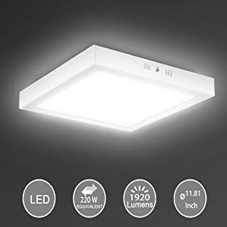 """11.81"""" 24W Led Flush Mount Ceiling Light, Square Surface Mounted Panel Lamp, Non-Dimmable, 1920lm, Cool White, 6000K, 120V, 150° Beam Angle, Lighting For Bedroom, Pantry, Meeting room"""