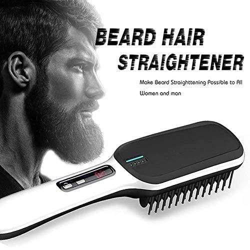 Beard Straighteners Kam, Stijltang Brush, Anti Scald Ionic Brush, Ionic Ceramic Fast Hair Straightening Kam Met 3 Verwarming Instelling En LED-Display