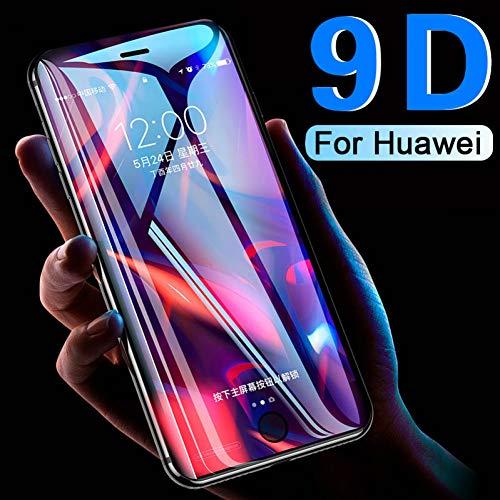 JVSJ 2PCS para Vidrio Templado de Cubierta Completa 9D para Huawei P Smart Plus Y5 Y6 Y9 2019 P20 Pro P30 Lite On Honor 10I 20I 8S 8C 8X 8A Película Protectora,for Honor 8lite,Black