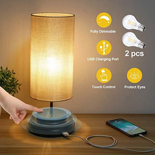 Kohree Lámpara de Mesa LED con Control Táctil Totalmente Regulable Puerto USB, Lámpara de Mesita de Noche Moderna con Pantalla de Tela Cuadrada para Dormitorio, Oficina, Bombilla LED de 4W 2700K