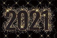 新しい10x7ftハッピーニューイヤー2021メリークリスマスの背景ゴールドハッピーニューイヤー2021ゴールドスパンコールブラック背景フェスティバルお祝いパーティー背景写真背景写真スタジオ