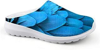 Sandalias Azules con Estampado de Plumas, Unisex, para Adultos, para el Tiempo Libre, de Malla