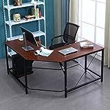 Mixcept L-Shaped Desk Computer Desk Large Corner Study Table Home Office Desk Workstation Desk,ZJ02-WA-MI(Walnut