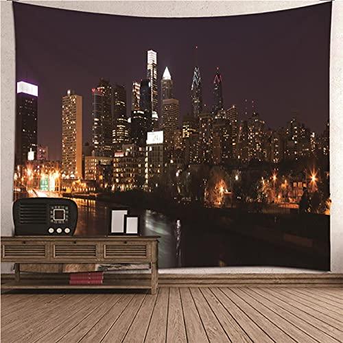 shuimanjinshan Wandteppich Wandbehänge New Yorker Nachtansicht Tapisserie Wandtuch Hausdeko Strandtuch Tagesdecke Boho Deko 260X350Cm (C1-2008)