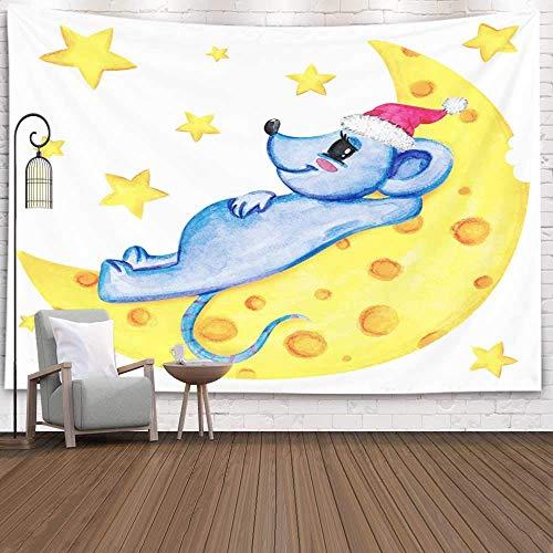 Tapiz decorativo para colgar en la pared, tamaño grande, tapiz fresco, mes del ratón, cielo estrellado, luna, queso, año nuevo, gorra roja, accesorio para sala de estar, dormitorio, tapiz popular, tap