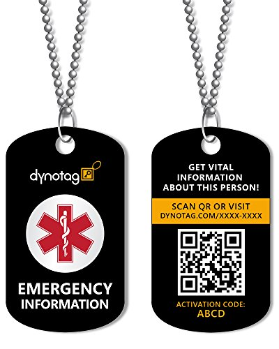 Dynotag SuperAlert Smart Medical ID with Detailed Online Profile; Military...
