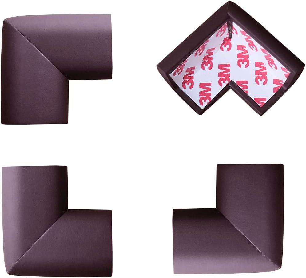 Makibi Baby Proof Corner Guards (12 Pack) | Table Corner Bumpers | 3M Pre-Taped | Corner Cushions | Corner Foam Protectors | Corner Covers for Furniture (Brown)