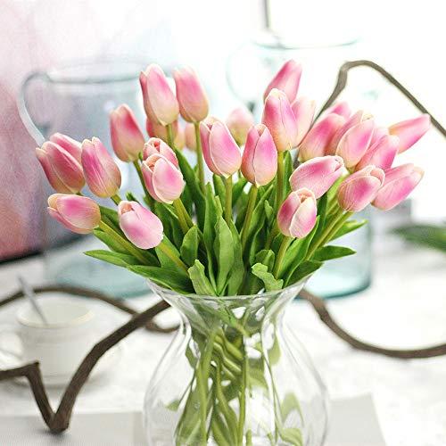 CQURE - Bouquet di fiori artificiali, in seta, con tulipani veri al tatto, bouquet da sposa, per casa, giardino, feste, decorazioni floreali, 10 pezzi, Seta, Giallo, 20 Pezzi