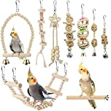 Bird Parrot Swing Toys, Chewing Standing Hanging Perch Hammock Climbing Ladder Bird Cage Toys for Budgerigar, Parakeet, Conure, Cockatiel, Mynah, Love Birds, Finches and Other Small to Medium Birds
