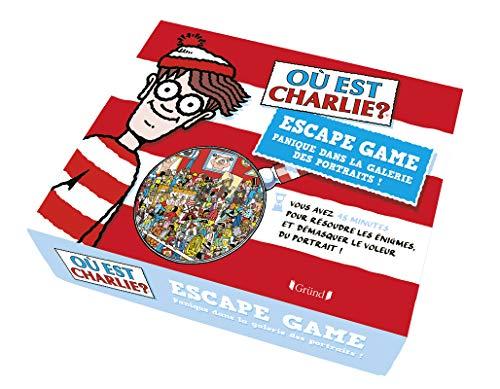 Où est Charlie ? Escape box – Escape game enfant de 2 à 5 joueurs avec 40 cartes, 1 livret et 1 poster – À partir de 7 ans