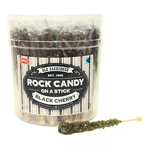 Extra Large Rock Candy Sticks (22g): 36 Black Cherry Lollipop - Individually Wrapped Black Crystal Rock Candy Sticks for Candy Buffet, Birthdays, Weddings, Receptions, Bridal and Baby Shower