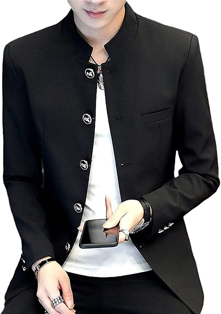 EGFIOKMJHT Stand Collar Men Casual Chinese Style Tunic Suit Jacket Spring Male Outerwear White Black Blue