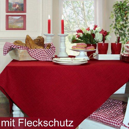 Sander Tischläufer LOFT Fb 01 rot/Himbeerrot in 3 Größen zur Auswahl mit FLECKSCHUTZAUSRÜSTUNG (50x140)