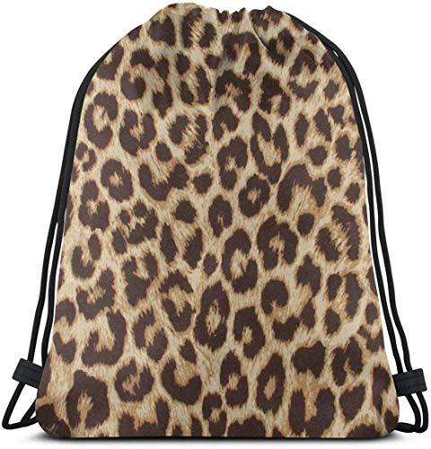 zhkx Leopard Print 2 Drawstring Rucksack Tasche Leichte Gym Reise Yoga Casual Snackpack Umhängetasche zum Wandern Schwimmen Strand modische 5893