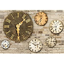 Laeacco Steampunk Theme Backdrop 7x5ft Vinyl Photography Background Ornamental Vintage Clock Dials Grunge Old Brick Wall Artistic Novelty Design Child Baby Adult Portrait Shoot Background