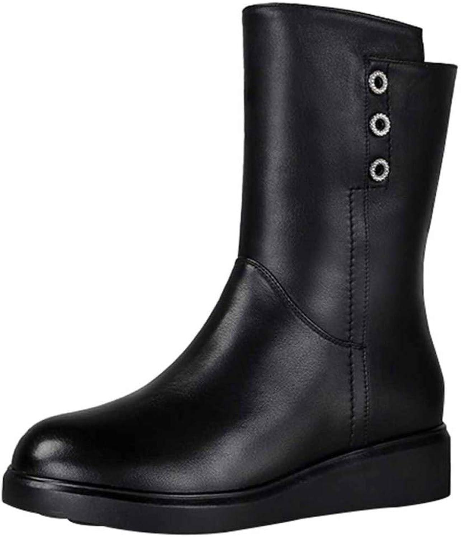 Miss Li Damen Leder Stiefeletten Winter Lederstiefel Dicke Und Warme Arbeit Utility Schuhe
