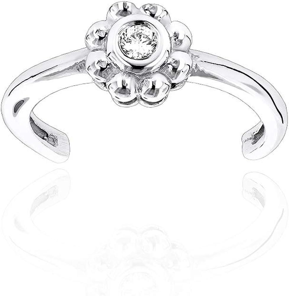 Ladies Adjustable Round Diamond Toe Ring 0.06ctw in 14k Gold by Luxurman