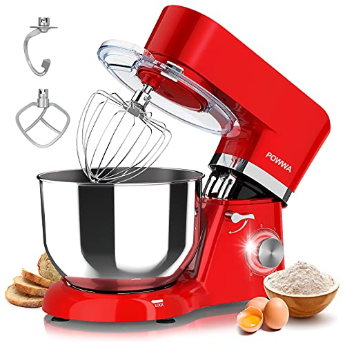 Stand Mixer, POWWA 6 Speed 660W Tilt-Head Kitchen Electric Mixers with 7.5 Quart Stainless Steel Bowl, Whisk, Dough Hook, Mixing Beater & Splash Guard...