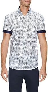 Tarocash Men's Mateo Geo Print Shirt Regular Fit Long Sleeve Sizes XS-5XL for Going Out Smart Occasionwear