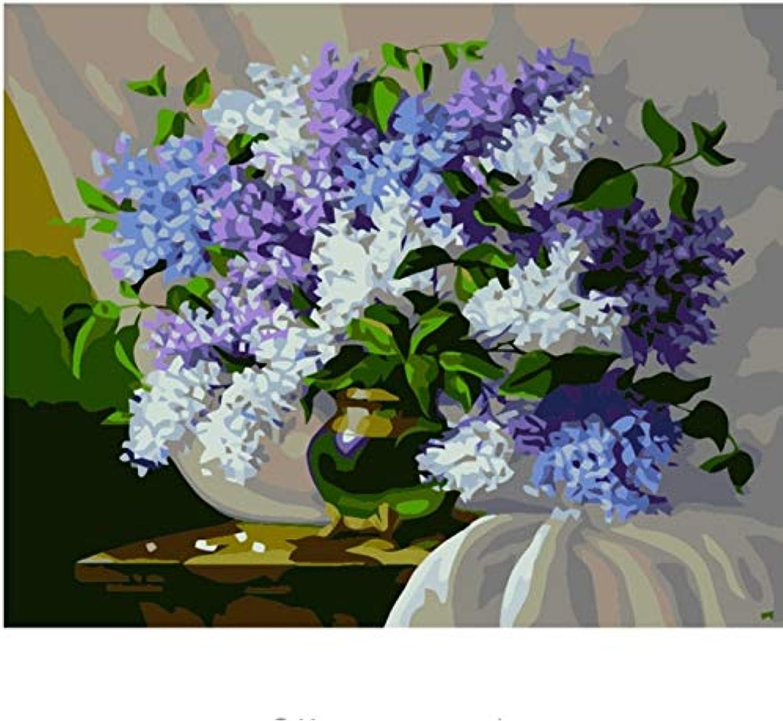LIWEIXKY DIY Malen Nach Zahlen Ölgemälde Färbung Nach Zahlen Poster Leinwand Ölgemälde Leinwand Wandkunst Blaumenvase Hand Painte - Rahmenlos - 40x50cm B07PR57DQ5 | Elegantes und robustes Menü