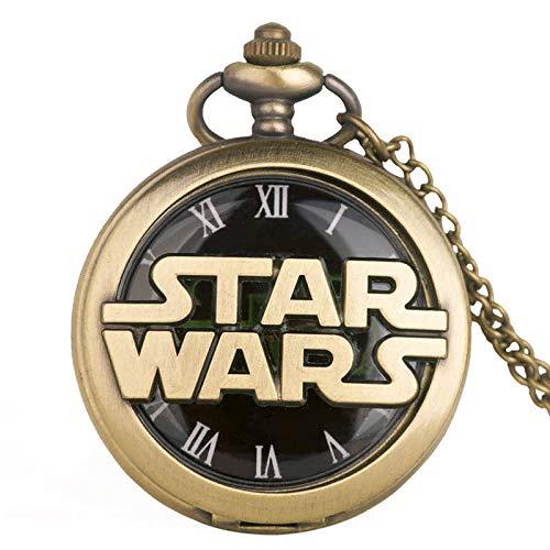 Star Wars Taschenuhr, Antik-Optik, 3D-Logo + Kette