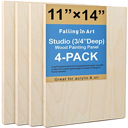 Unfinished Birch Wood Canvas Panels Kit, Falling in Art 4 Pack of 11x14'' Studio 3/4'' Deep Cradle Boards for Pouring Art, Crafts, Painting and More