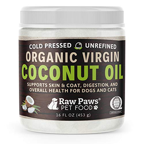 Raw Paws Organic Virgin Coconut Oil for Dogs & Cats, 16-oz - Supports Immune System, Digestion, Oral Health, Thyroid - All Natural Allergy Relief for Dogs, Hairball Relief