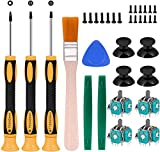 RGEEK 4pcs Replacement Thumbsticks Joysticks Repair Replacement Parts Plating Workmanship T6 T8 T10 Screwdriver Repair Kit with Full Repair Tool Set.