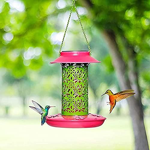NYCUABT Solar-Vogel-Feeder, Kolibri-Feeder mit 5 Fütterungsöffnungen, Vogel-Feeder für draußen hängen mit Licht für Garten Yard Backyard Dekoration-rot 19x19x22cm (7x7x9inch)