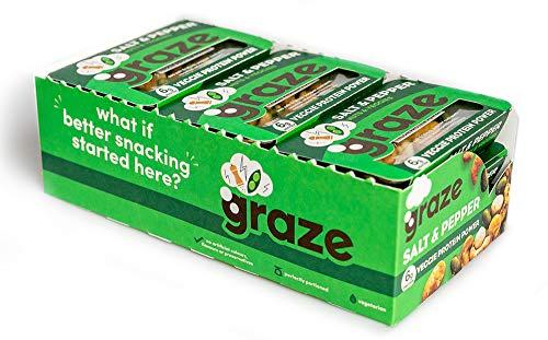 Graze Sea Salt & Pepper Veggie Protein Power - Vegan Savoury Healthy Snack Sharing Bag - 28g (Pack of 9)