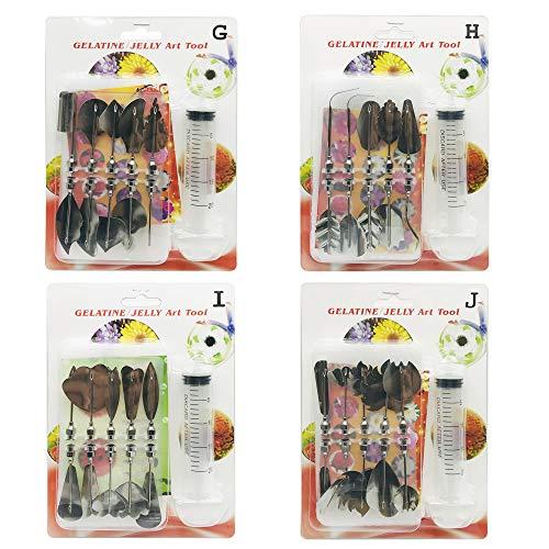 Woohome 3D Gelatine Kunst Werkzeuge, 40 Stück Jelly Kuchen Dekor Werkzeuge Set 3D Gelatine Gelee Blume Art Tools zum Pudding Kuchen Dekorieren (Stil: GHIJ)