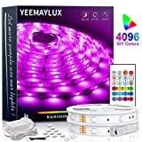 YEEMAYLUX LED Strip Lights 32.8ft,4096 DIY Color Changing 5050 RGB 300 Led Light Strip kit with Remote and Hidden Controller Easy Installation for TV Backlight,Room and Bedroom Multicolor Decoration.