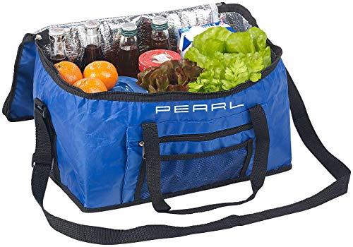 PEARL Isoliertasche: Faltbare Kühltasche mit Schultergurt & Tragegriffen, 24 Liter, blau (Kühltasche groß)