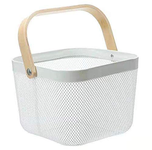 Mesh Steel Storage Organizer Basket, Multi-Functional Metal Wire Hanging Kitchen Baskets Fruit Basket with Bamboo Handle Ideal for Kitchen, Bathroom, Pantry, Cabinet Home, Shopping, White