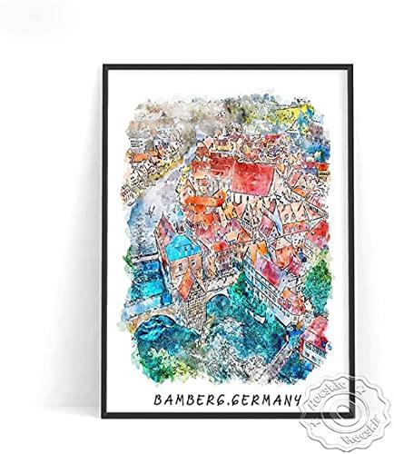 YUMKNOW Quadro su Tela 60x90cm Senza Cornice Poster di Viaggio della Città dell acquerello Paesi Bassi Amsterdam Spagna Barcellona Stampa Poster Germania Tela Regalo