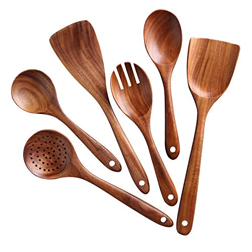 Kitchen Utensils Set,NAYAHOSE Wooden Cooking Utensil Set Non-stick Pan Kitchen Tool Wooden Cooking Spoons and Spatulas Wooden Spoons for cooking salad fork