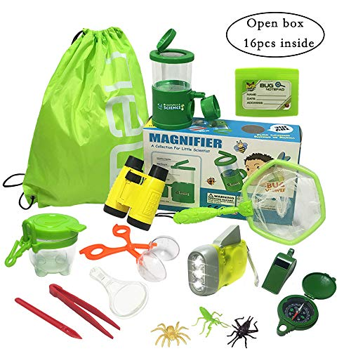 JOLLY SWEETS Outdoor Exploration Kit 16 Pcs Set, Kids-Nature Adventure Toys Bug Kit, Backpack, Butterfly Net Catcher, Bug Catcher, Bug Viewer with Magnifier, Binoculars,Boy and Girl Explorer Kit.