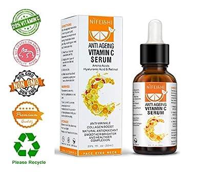 Premium 20% Vitamin C Serum For Face - with Hyaluronic Acid, Retinol & Amino Acids - Natural Anti Aging & Wrinkle Facial Serum, Boost Skin Collagen, Brighten Hydrate & Plump Skin