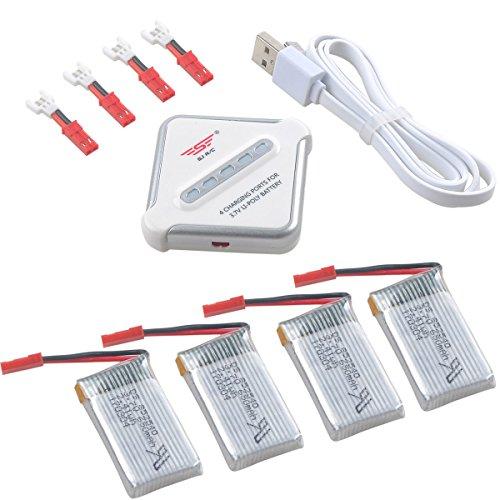 Crazepony-UK 4pcs 1S Lipo Batteria 3.7V 650mAh 25C Lipo Battery JST Plug And 4 in 1 Multi Batterie Charger for RC Quadcopter Drone Multirotors