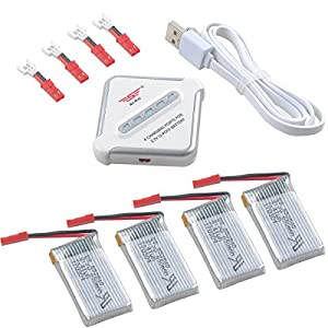 Crazepony-UK 4pcs 1S Lipo 3.7V 650mAh 25C Bateria JST Plug and 4 in 1 Multi Battery Charger for RC Quadcopter Drone Multirotors