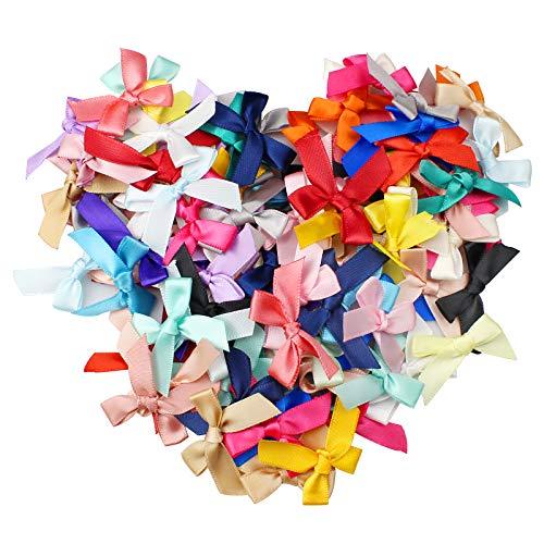 ZoZoMaiy 100 Stück Mini Satinband Schleifen, 2.5 cm Klein Satin Band Schleife, Farbe mini Band Bowtie für Nähen, Scrapbooking, Hochzeit Deko, Karten, DIY Basteln, Haar...