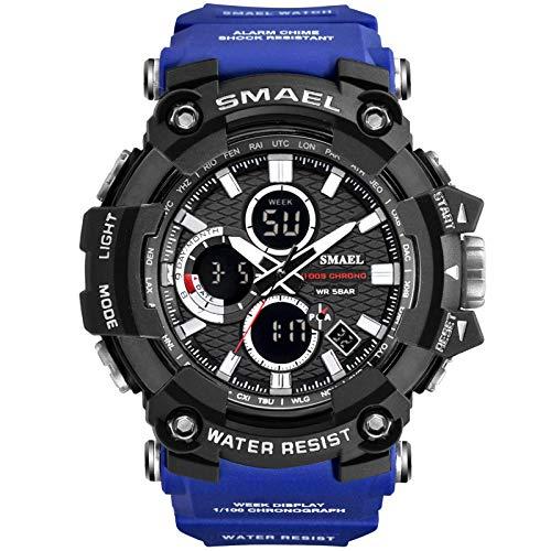 xiaoxioaguo Reloj deportivo de doble hora para hombre, resistente al agua, 50 m, reloj militar, reloj deportivo de regalo azul
